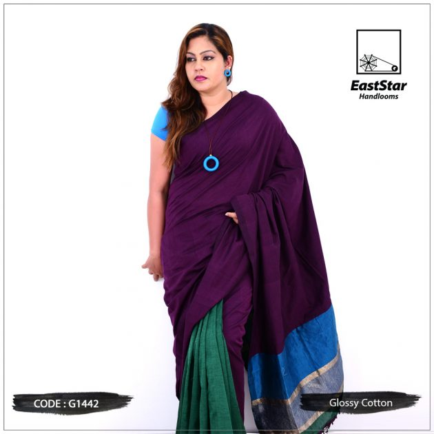 Code #G1442 Handloom Glossy Cotton Saree