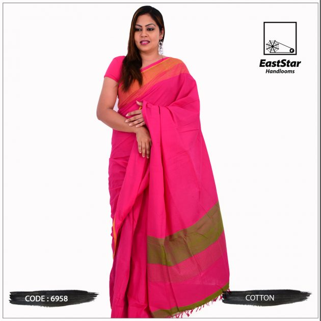 Code #6958 Handloom Cotton Saree