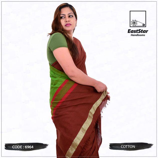 Code #6964 Handloom Cotton Saree