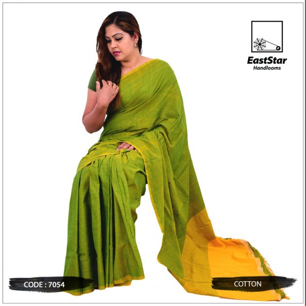 Code #7054 Handloom Cotton Saree