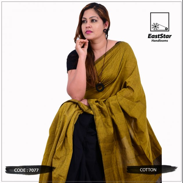 Code #7077 Handloom Cotton Saree