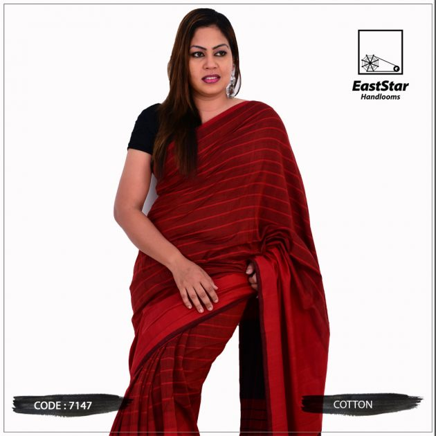 Code #7147 Handloom Cotton Saree