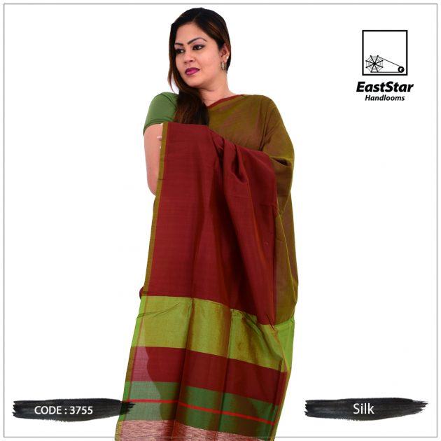 Code #3755 Handloom Silk Saree