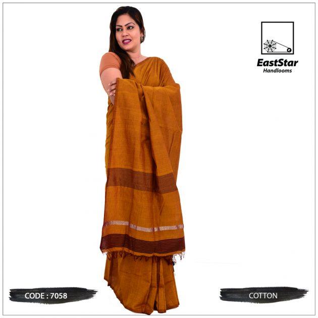 Code #7058 Handloom Cotton Saree