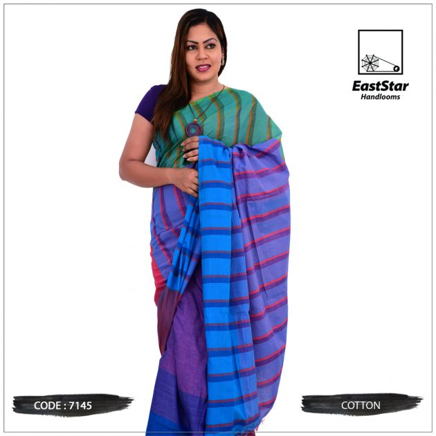 Code #7145 Handloom Cotton Saree