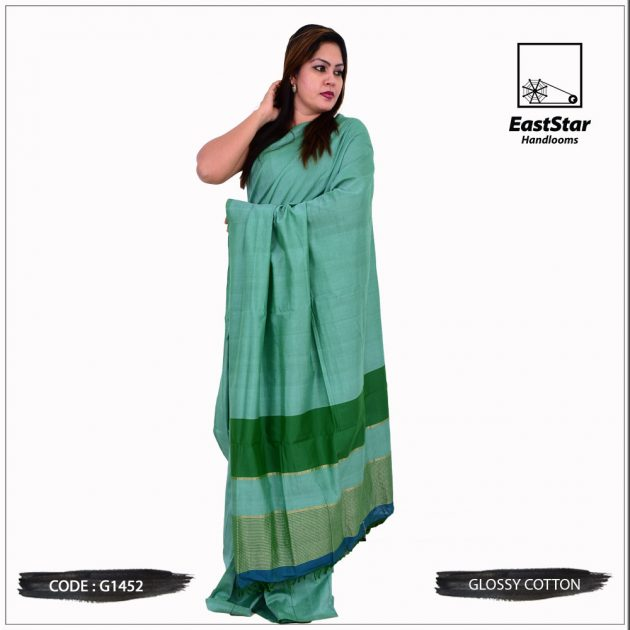 Code #G1452 Handloom Glossy Cotton Saree