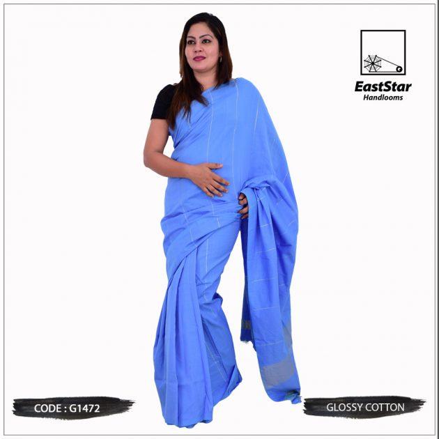 Code #G1472 Handloom Glossy Cotton Saree