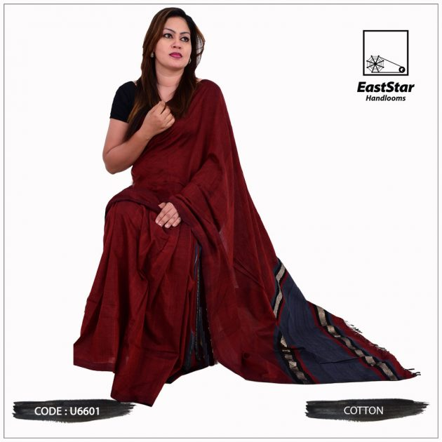 Code #u6601 Handloom Cotton Saree