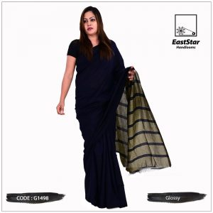 Code #G1498 Handloom Glossy Cotton Saree