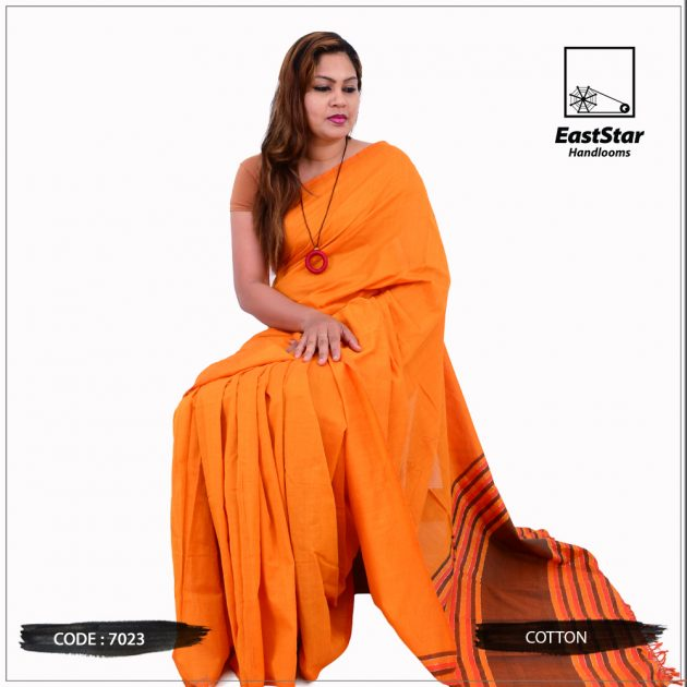 Code #7023 Handloom Cotton Saree