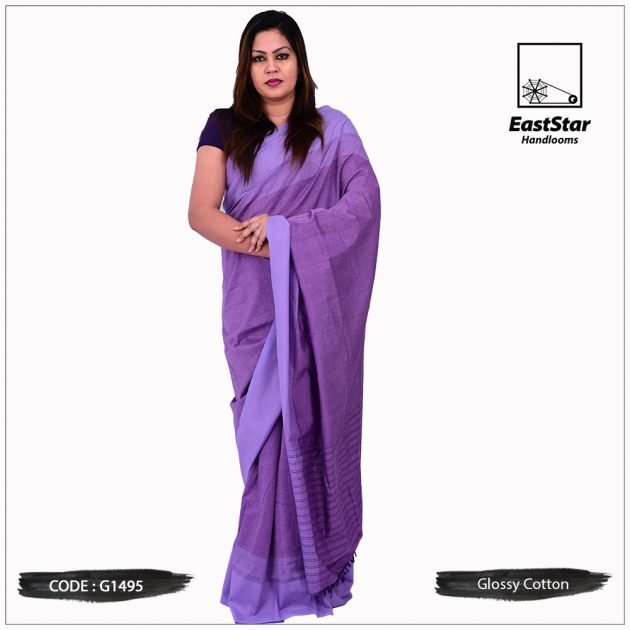 Glossy Cotton Saree G1495