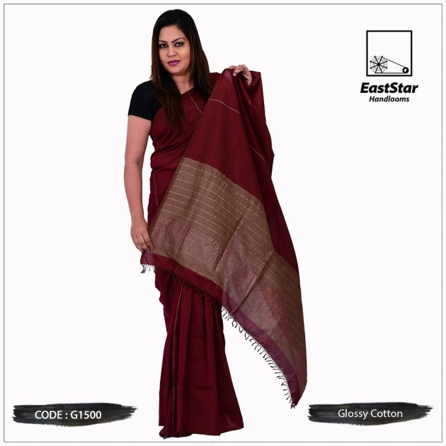 Glossy Cotton Saree G1500