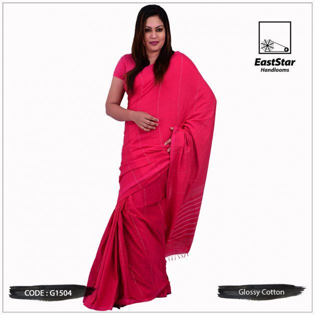 Glossy Cotton Saree G1504