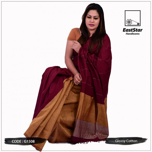 Glossy Cotton Saree G1508