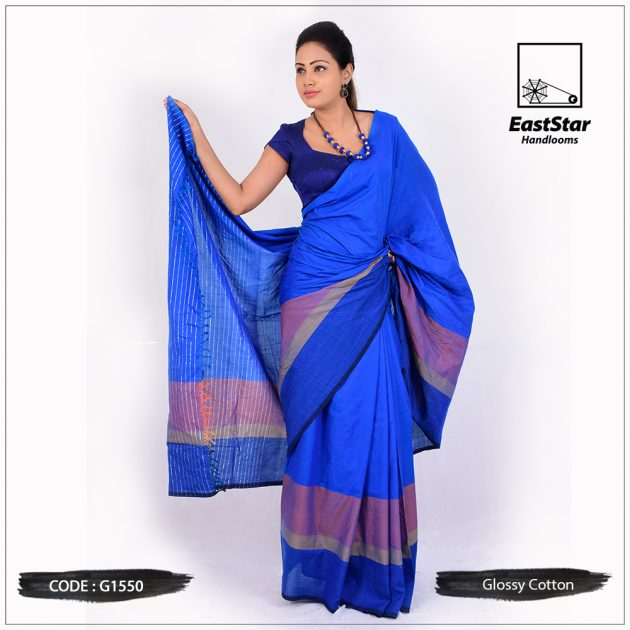 Glossy Cotton Saree G1550