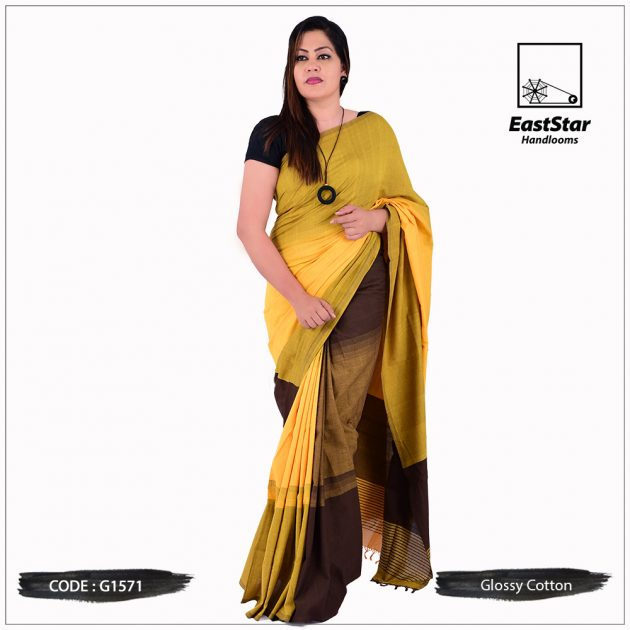 Glossy Cotton Saree G1571
