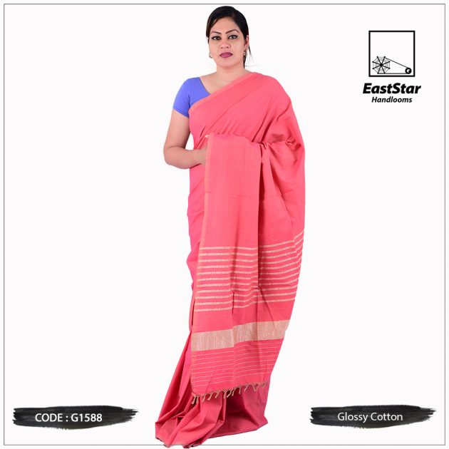 Glossy Cotton Saree G1588