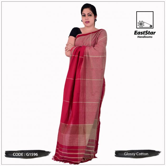 Handloom Glossy Cotton Saree G1596