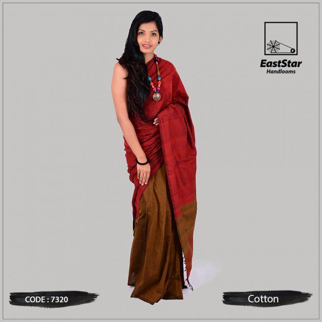 Red & Brown Saree – East Star Handlooms