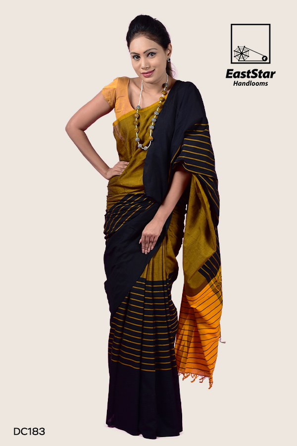 Mustard Yellow Handloom Cotton Saree