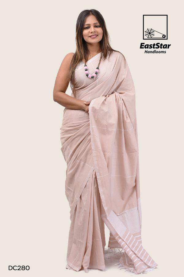 Tawny brown handloom saree, office wearable, maruthamunai, cotton saree