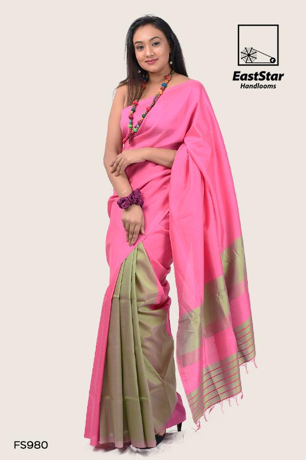 Pink and green soft silk saree, party wear saree