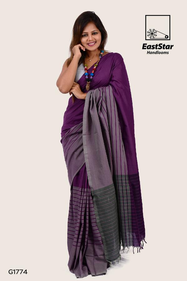Violet handloom simple saree with ash design, saree for wedding, modern saree
