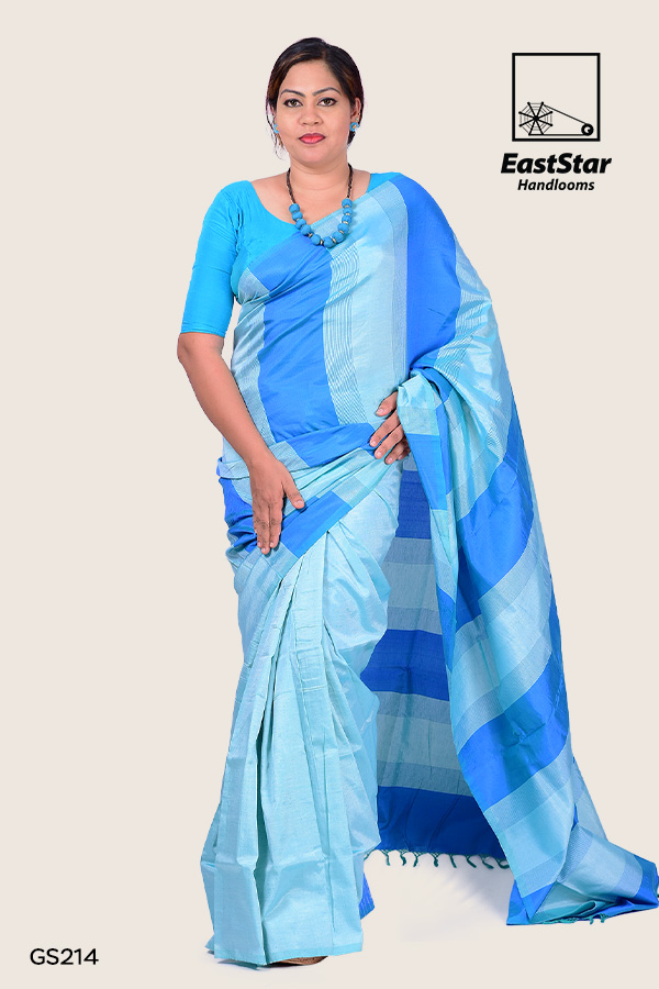 Blue and light green handloom saree with pattern design, simple saree, saree for wedding